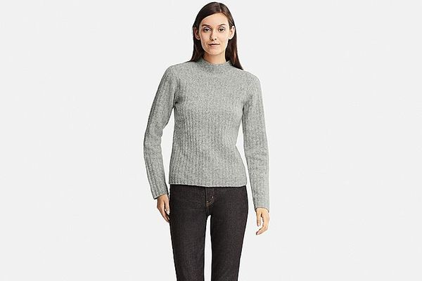 Women's Wide-ribbed Mock Neck Sweater