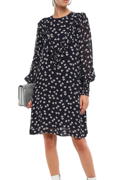 Ganni Rometty Georgette Dress (Navy)