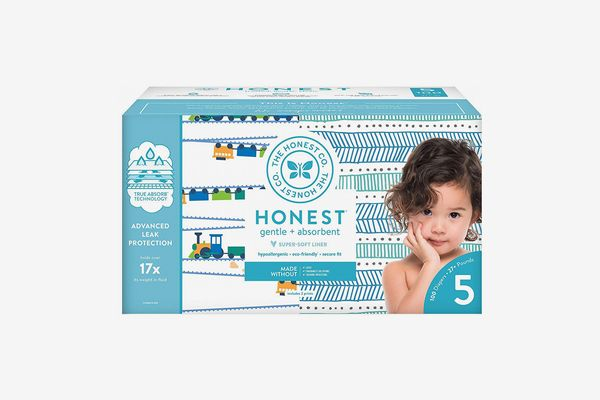 The Honest Company Super Club Box Diapers with TrueAbsorb Technology, Trains & Teal Tribal