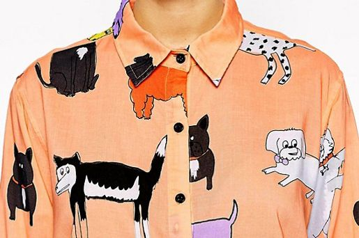 Lazy Oaf Oversized Shirt With All Over Dog Print
