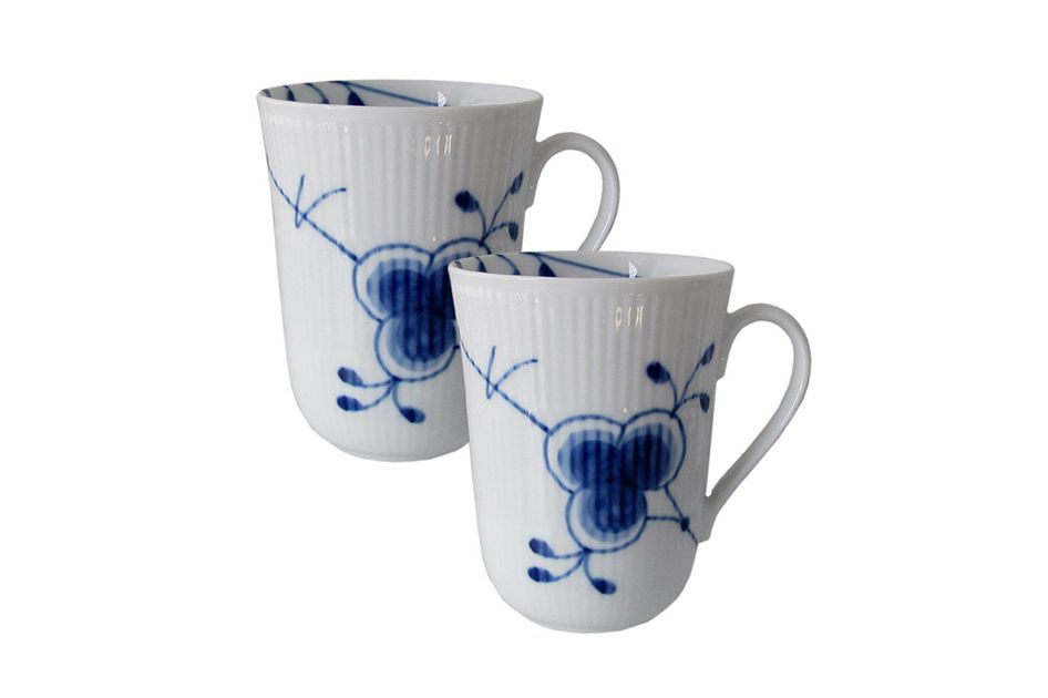 Royal Copenhagen Blue Fluted Mugs, Set of Two