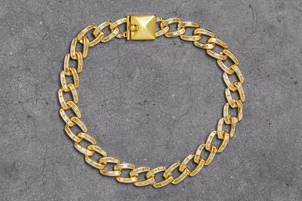 Noir Jewelry 14-Karat Gold-Plated Crystal Bracelet