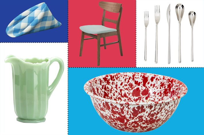collage of rosso glass paneled water pitcher, crow canyon home enamelware serving bowl, blue LA linen napkin, gdf studio helen mid century modern dining chair, and fortessa dragonfly stainless steel flatware - strategist best home decor and best dining room decor