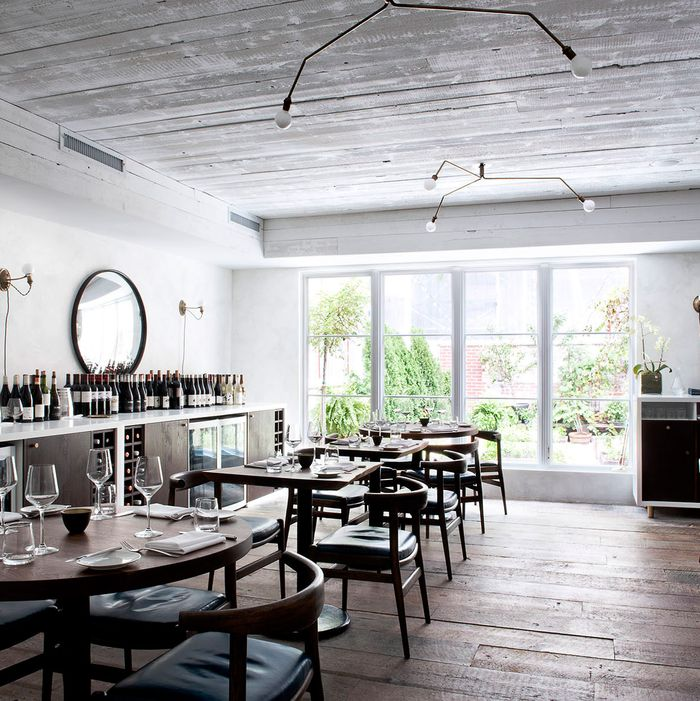 The Musket Room's dining room overlooks a pretty garden, where chef Matt Lambert grows micro-greens.