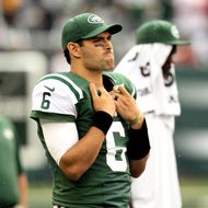 Mark Sanchez #6 of the New York Jets looks on from the sideline in the fourth quarter against the San Francisco 49ers on September 30, 2012 at MetLife Stadium in East Rutherford, New Jersey.The San Francisco 49ers defeated the New York Jets 34-0.