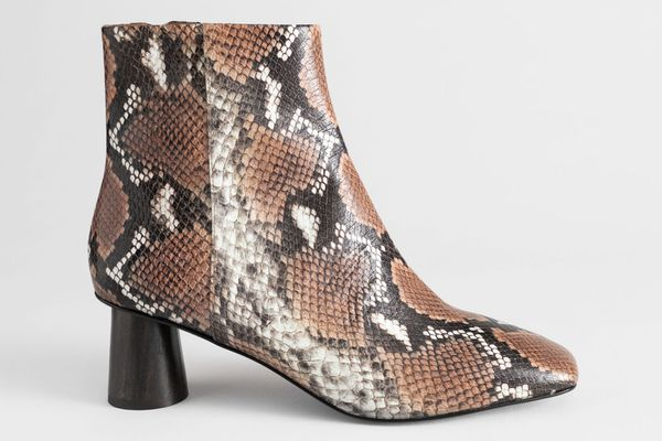 & Other Stories Wooden Heel Snake Ankle Boots