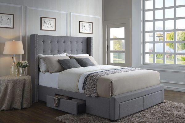 DG Casa Melrose Gray Linen Wingback Storage Bed