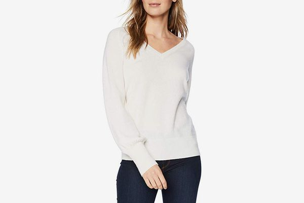 Lark & Ro V-Neck Cashmere Sweater with Bell Sleeves