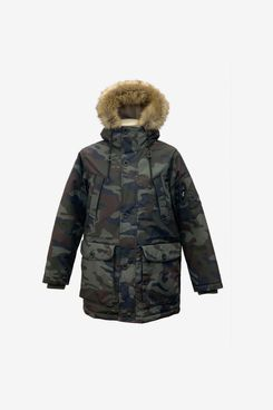 Sean John Water Resistant Camo Hooded Parka with Faux Fur Trim
