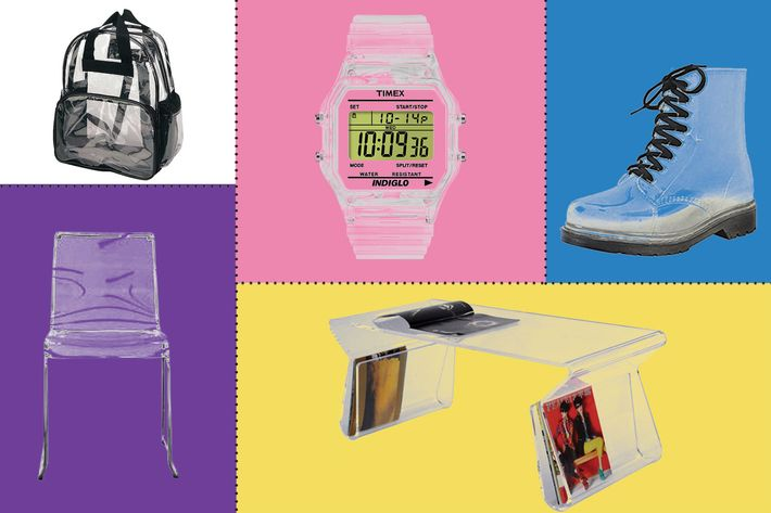 collage of homecom modern acrylic coffee table, timex unisex t2n803 digital clear translucent case and strap watch, women's transparent waterproof rain boots, lino transparent clear acrylic dining chair, and proequip travel bag- strategist best home decor and best clear plastic things on amazon