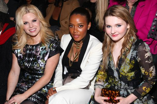 NEW YORK, NY - FEBRUARY 09:  (L-R) Megan Hilty, Angela Simmons and Abigail Breslin  attend the Cynthia Rowley fall 2012 fashion show during Mercedes-Benz Fashion Week at the IAC Building on February 9, 2012 in New York City.  (Photo by Astrid Stawiarz/Getty Images)