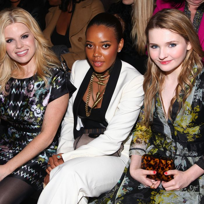 From left: Megan Hilty, Angela Simmons, and Abigail Breslin at the Cynthia Rowley Fall 2012 show