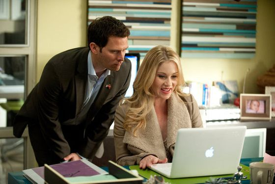 "UP ALL NIGHT -- ""Baby Fever"" Episode 120 -- Pictured: (l-r) Steven Pasquale as Luke, Christina Applegate as Reagan Brinkley -- Photo by: Colleen Hayes/NBC"