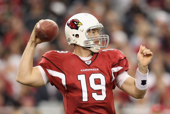 Quarterback John Skelton #19 of the Arizona Cardinals throws a pass during the NFL game against the Cleveland Browns at the University of Phoenix Stadium on December 18, 2011 in Glendale, Arizona.