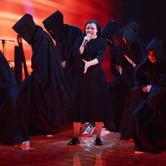 MILAN, ITALY - JUNE 05: Suor Cristina Scuccia performs during 'The Voice of Italy' award on June 5, 2014 in Milan,Italy. (Photo by Stefania D'Alessandro/Getty Images)