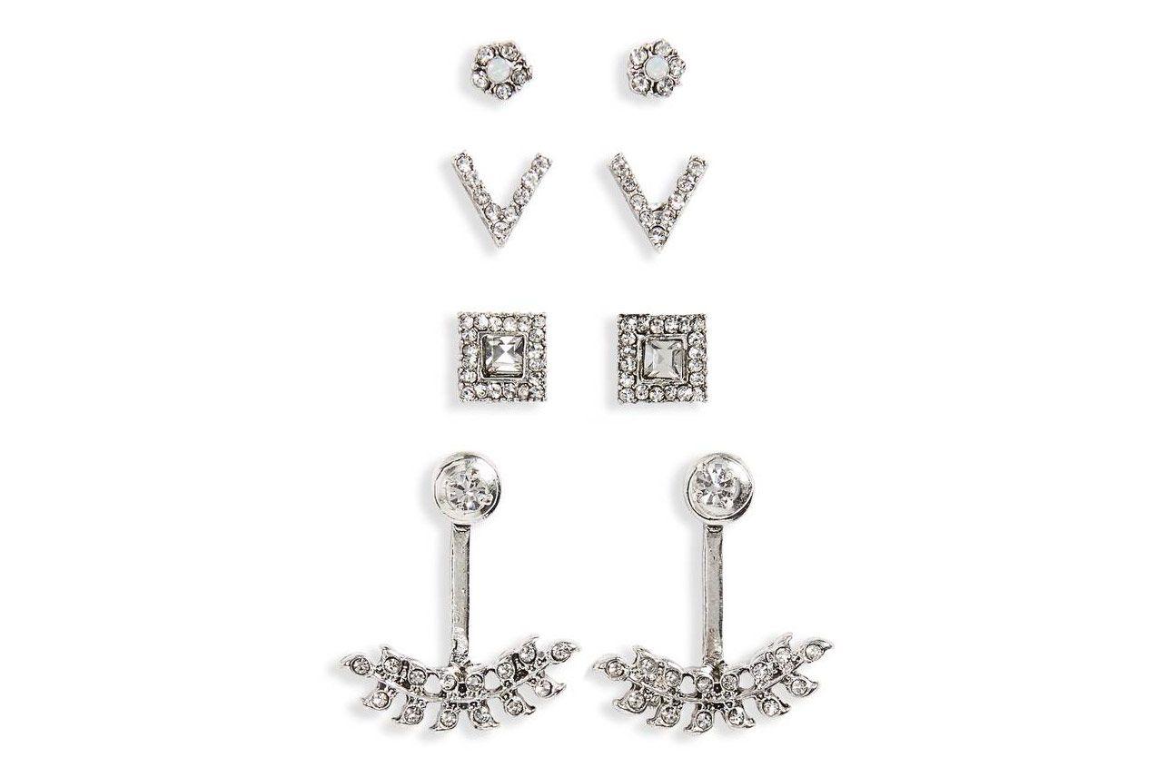 BP. 4-Pack Crystal Earrings & Ear Cuffs