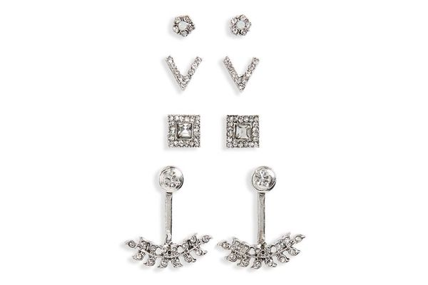 BP. 4-Pack Crystal Earrings & Ear Cuffs