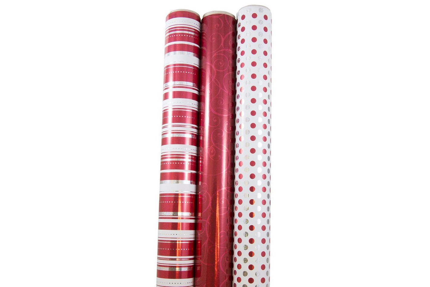 JAM Paper Christmas Design Wrapping Paper — Jolly Red Christmas — 50 Sq Ft 3/Pack