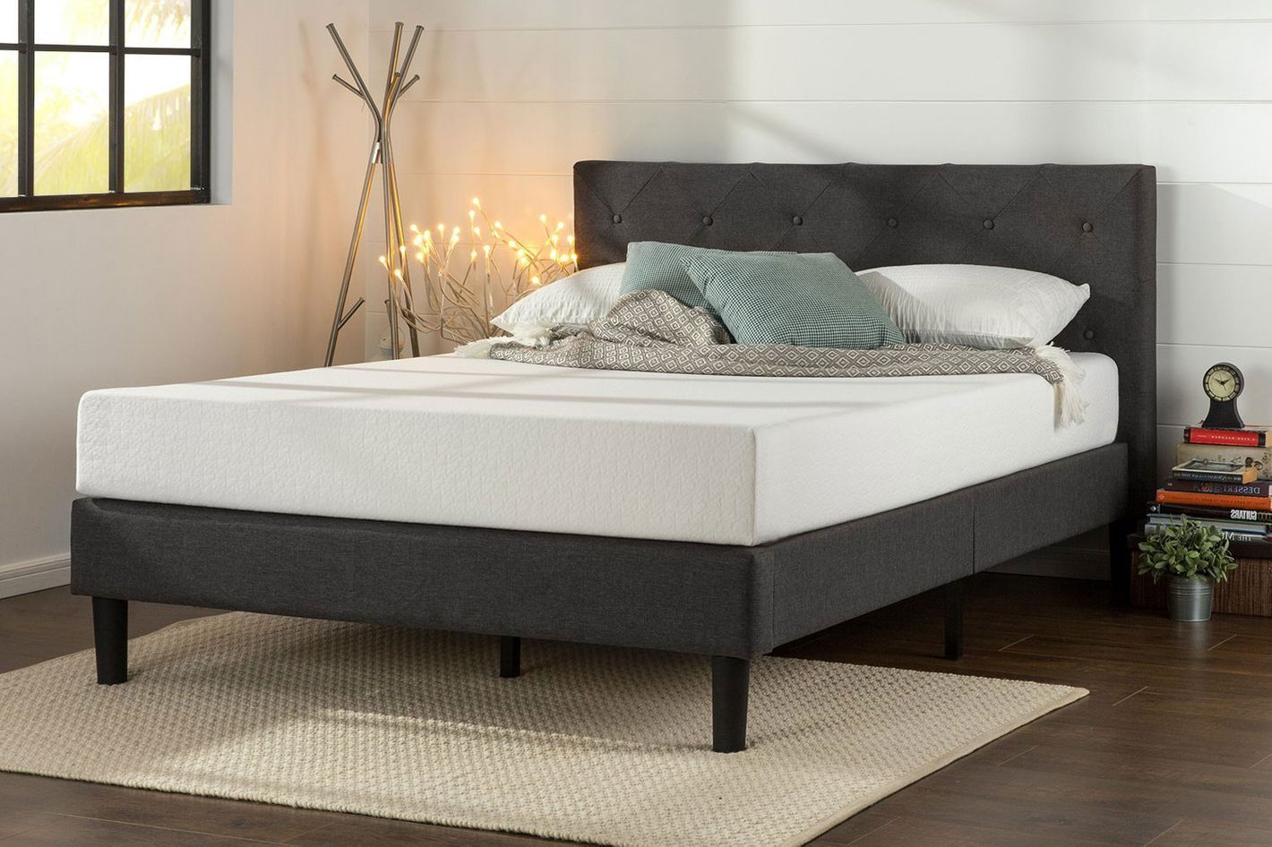 e7f3146a11 Zinus Shalini Upholstered Diamond Stitched Platform Bed in Dark Grey, Queen