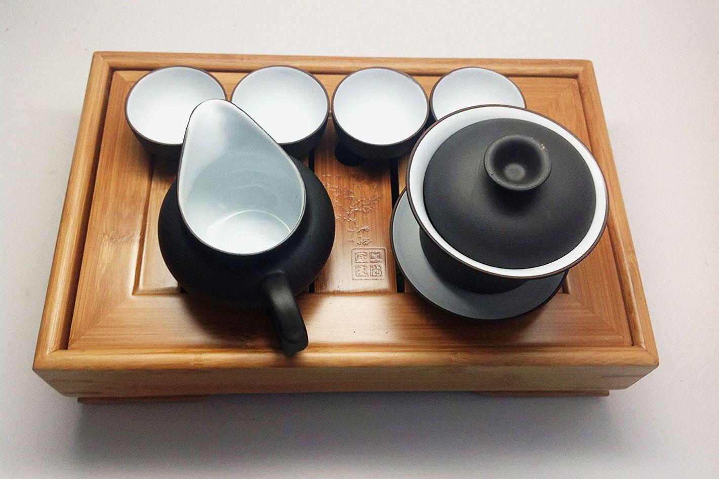 Music City Tea Gaiwan Tea Set With Bamboo Tea Tray