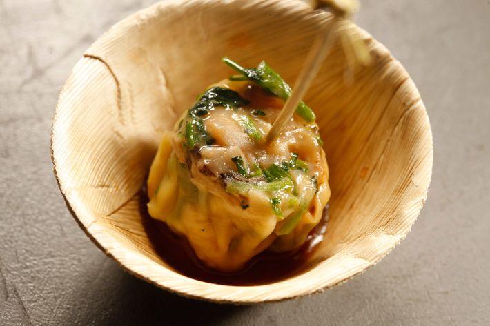 Red Farm: Shrimp, mushroom, and watercress dumplings.