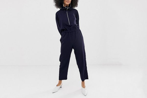 ASOS White Funnel Neck Shell Suit Jumpsuit