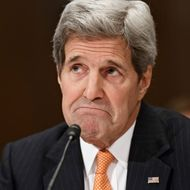 """24 Feb 2015, Washington, DC, USA --- Secretary of State John Kerry testifies on Capitol Hill in Washington, Tuesday, Feb. 24, 2015, before a Senate Appropriations subcommittee to defend the budget requests for America's diplomacy operations. When asked about Ukraine, Kerry said Russia has lied """"to my face and the face of others on many different occasions"""" about its activities in Ukraine. He added that Russia is engaged in the biggest propaganda exercise that he's seen since the height of the Cold War. (AP Photo/J. Scott Applewhite) --- Image by ? J. Scott Applewhite/AP/Corbis"""