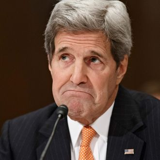 24 Feb 2015, Washington, DC, USA --- Secretary of State John Kerry testifies on Capitol Hill in Washington, Tuesday, Feb. 24, 2015, before a Senate Appropriations subcommittee to defend the budget requests for America's diplomacy operations. When asked about Ukraine, Kerry said Russia has lied