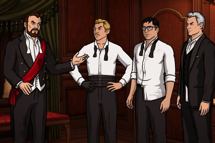 "ARCHER -- ""Bel Panto: Part II"" -- Episode 706 (Airs Thursday, May 5, 10:00pm e/p) Pictured: (l-r) Dr. Algernop Krieger (voice of Lucky Yates), Ray Gillette (voice of Adam Reed), Cyril Figgis (voice of Chris Parnell), Ellis Crane (voice of John O'Hurley). CR: FX"