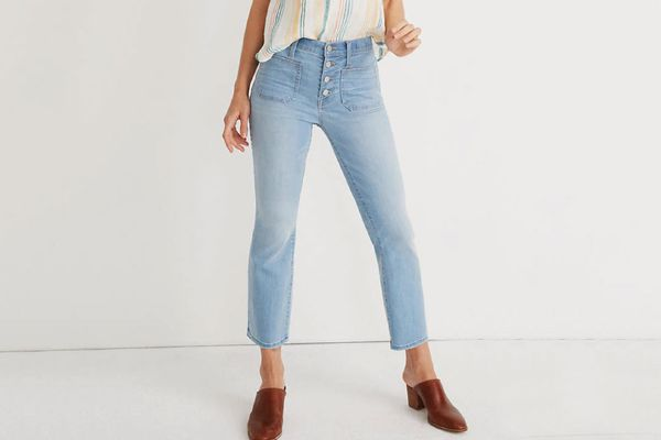 Madewell Cali Demi-Boot Jeans in Quince Wash: Button-Front Edition