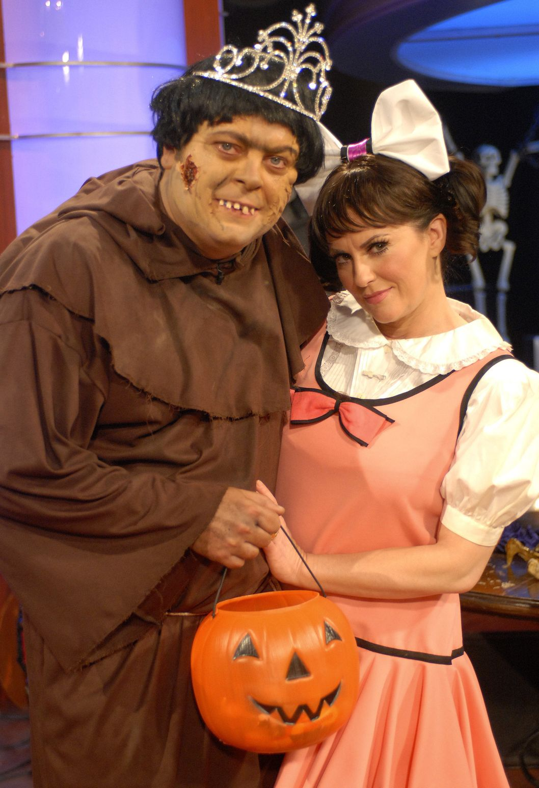 THE MEGAN MULLALLY SHOW -- Episode 1032 -- Pictured: (l-r) A crew member dressed in costume and host Megan Mullally dressed in costume as Edith Ann pose on October 31, 2006 .