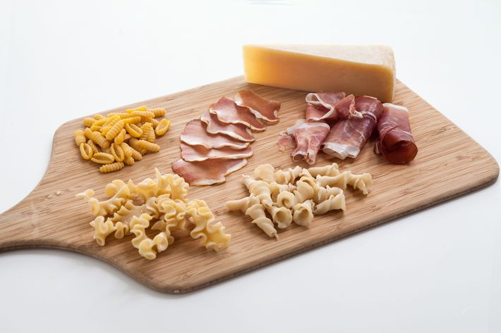 Sartori Parmesan, Sfoglini pastas, and La Quercia hams — made in the USA.