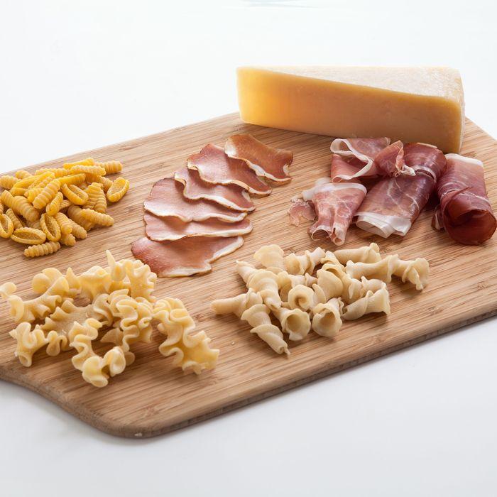 Sartori Parmesan, Sfoglini pastas, and La Quercia hams — made in the USA.