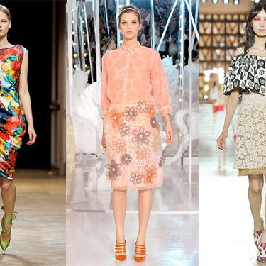 From left: new spring looks from Talbot Runhof, Louis Vuitton, and Miu Miu.
