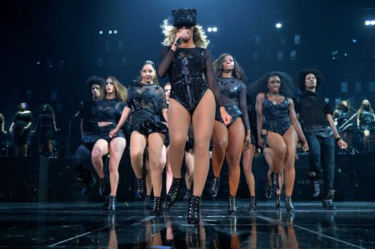 "Entertainer Beyonce performs on stage during ""The Mrs. Carter Show World Tour"" at the Barclays Center on December 19, 2013 in New York, New York."