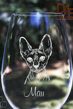 Sphynx-Cat Wineglass With Complimentary Personalization