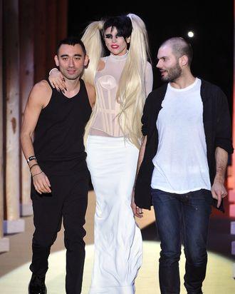 Nicola Formichetti, Lady Gaga, and Sebastien Peigne.
