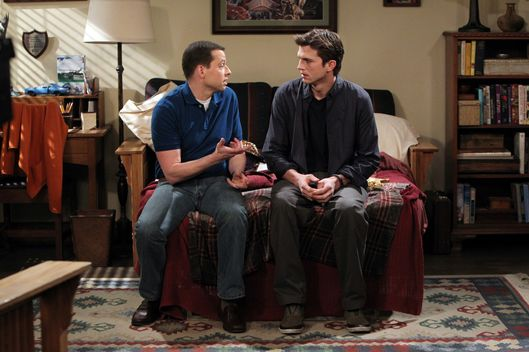"""Not in my mouth!"" -- Alan (Jon Cryer) and Walden (Ashton Kutcher) on TWO AND A HALF MEN"