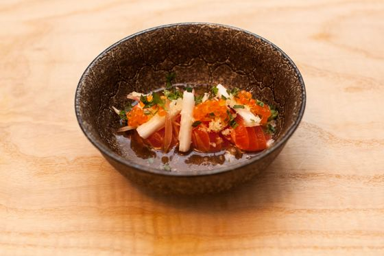 Sea trout with trout roe, nagaimo, myoga, and ponzu