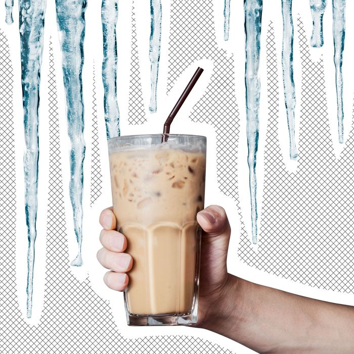 Iced coffee with icicles.