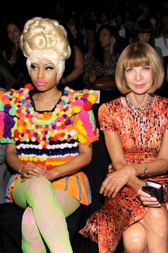 NEW YORK, NY - SEPTEMBER 12:  Nicki Minaj and Anna Wintour attend the Carolina Herrera Spring 2012 fashion show during Mercedes-Benz Fashion Week at The Theater at Lincoln Center on September 12, 2011 in New York City.  (Photo by Dimitrios Kambouris/WireImage)