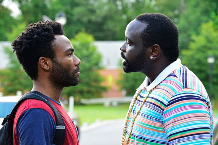 """ATLANTA -- """"The Big Bang"""" -- Episode 101 (Airs Tuesday, September 6, 10:00 pm e/p) Pictured: (l-r) Donald Glover as Earnest Marks, Brian Tyree Henry as Alfred Miles.CR: Guy D'Alema/FX"""