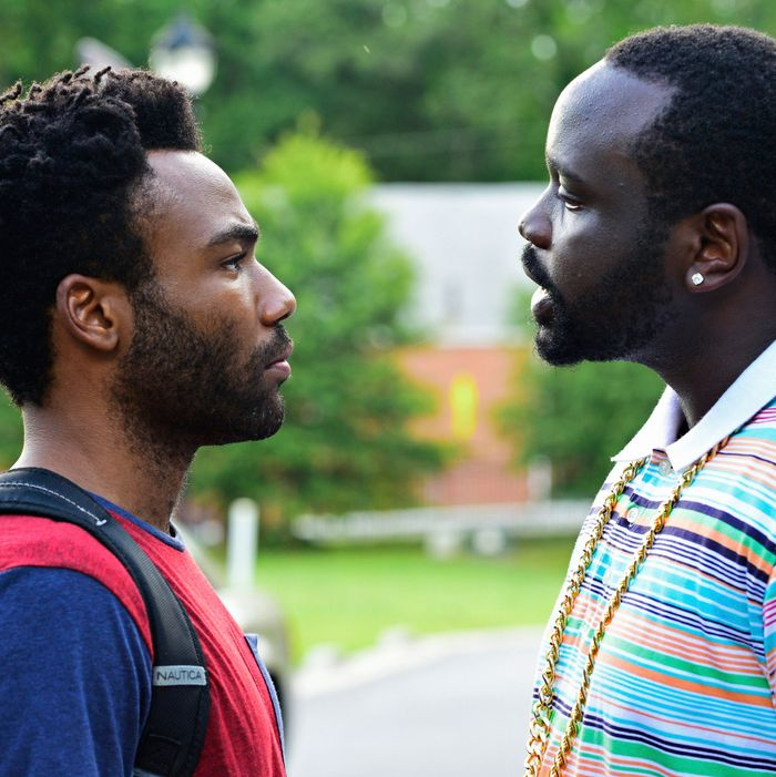 "ATLANTA -- ""The Big Bang"" -- Episode 101 (Airs Tuesday, September 6, 10:00 pm e/p) Pictured: (l-r) Donald Glover as Earnest Marks, Brian Tyree Henry as Alfred Miles.CR: Guy D'Alema/FX"