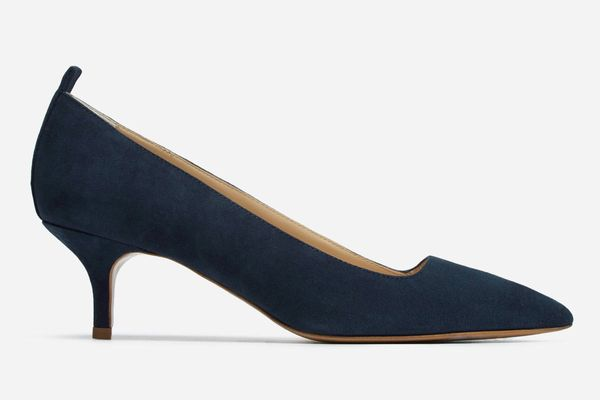 Everlane the Editor Heel in Navy Suede