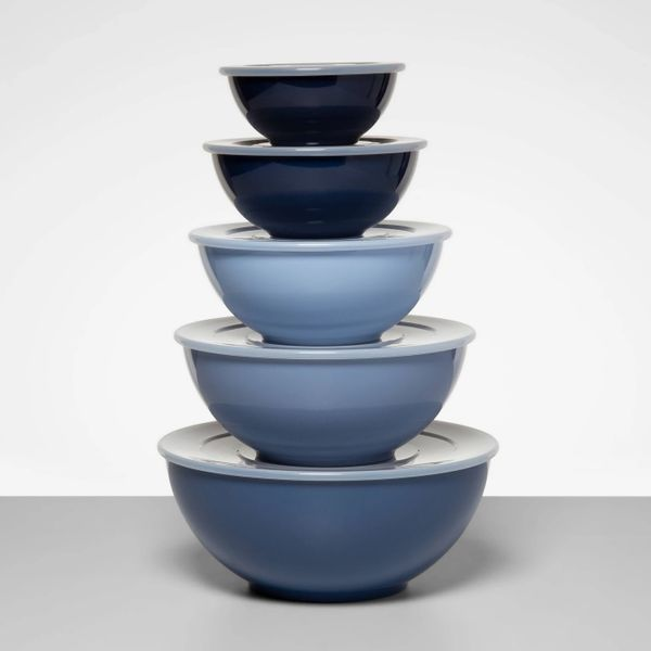 Made By Design Plastic Mixing Bowl Set with Lids Blue