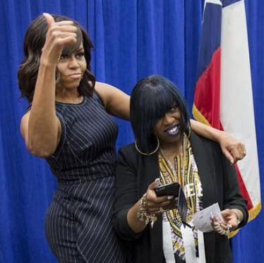 Uh, yeah, this is a selfie moment. Michelle Obama/Instagram