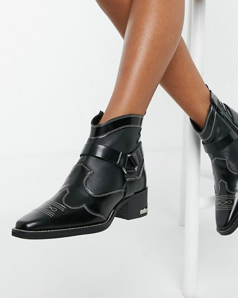 Women Solid Chunky Block Mid Heels Ankle Boots Strap Buckle Pointed Toe Shoes Sz