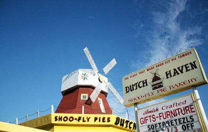 <b>The Destination:</b> Dutch Haven in Ronks  <b>How to Get There: </b>Ronks is in the heart of Lancaster County, and about an 90-minute drive from Philadelphia.  <b>When to Go:</b> Anytime.     The Shoofly (or Shoo Fly) Pie reigns supreme: For the uninitiated, it's essentially a pie with a deep, gooey molasses filling and crumb top. Some have thick crusts on the bottom, while others — wet-bottom — don't. Dutch Haven, a kitschy tourist trap with all manner of Pennsylvania Dutch and Amish goods for sale, is certainly the best place for shoo fly newbs to start.  <i>Dutch Haven, 2857A Lincoln Highway East, Ronks, PA; 717-687-0111</i>
