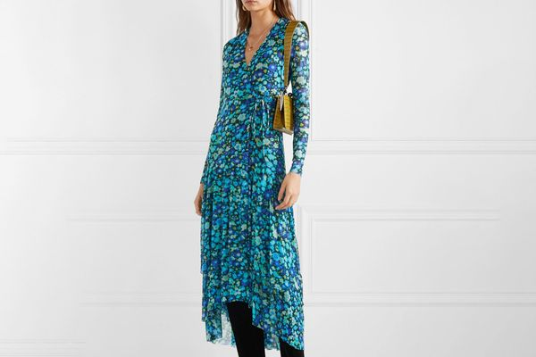 Ganni Floral-print stretch-mesh wrap midi dress