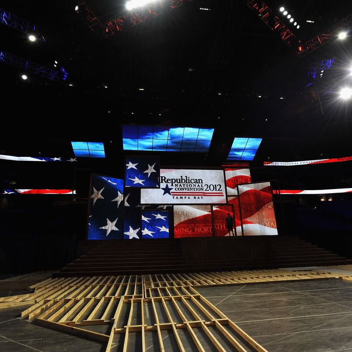 A worker walks past the stage inside of the Tampa Bay Times Forum in preparation for the Republican National Convention on August 20, 2012 in Tampa, Florida. Thousands will descend on Tampa for the four day convention which takes place August 27-30.